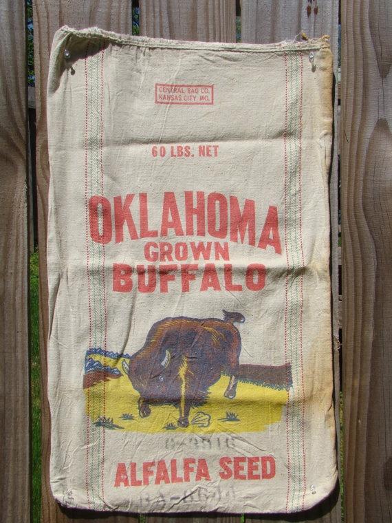 Oklahoma Grown Buffalo Alfalfa Seed Bag  RARE by DesignerKy, $45.00