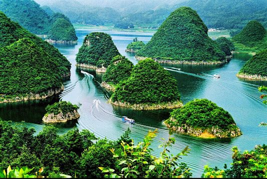 Scenic waterways and hills around the city Guiyang, the provincial capital of Guizhou province