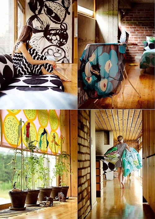 Yellowish pine makes home docorating difficult. . . But Marimekko makes it work! Colours and big patterns.