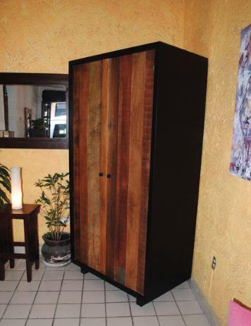 Armario cafeto de madera banak reciclada y hierro forjado - Armarios de hierro ...