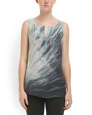 Silk Tie Dye Placket Tunic