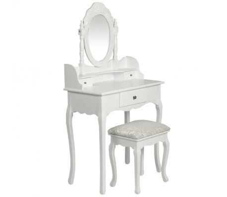Consolle con specchio e sgabello, mobile da toeletta bianco 125,99 €