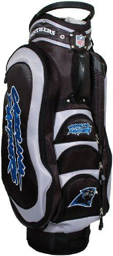 NFL Carolina Panthers Cart Golf Bag by Team Golf. $149.99. 8 location embroidery and 5 zippered pockets. Padded strap with strap pouch and fleece-lined valuables pouch. External putter well and 3 lift assist handles. Removable rain hood and umbrella holder and towel ring. Integrated top handle and 14-way full length dividers. NFL Carolina Panthers Cart Golf Bag (14 Way Dividers)