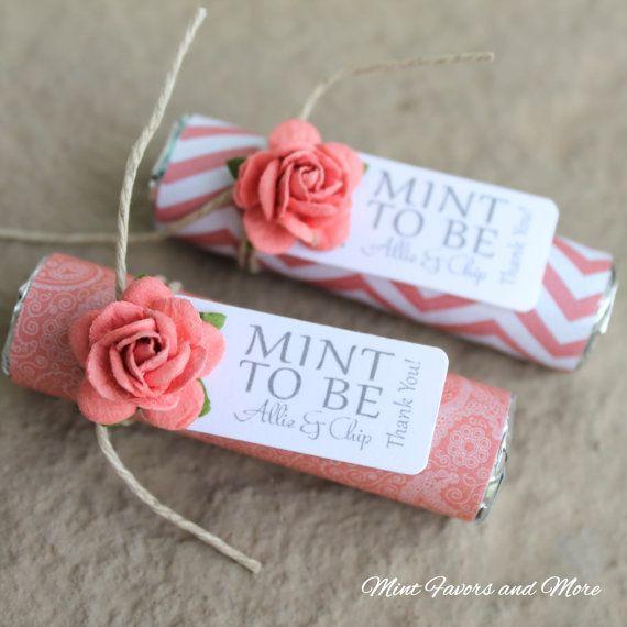 Coral wedding favors  Set of 80 mint rolls  by BabyEssentialsByMel