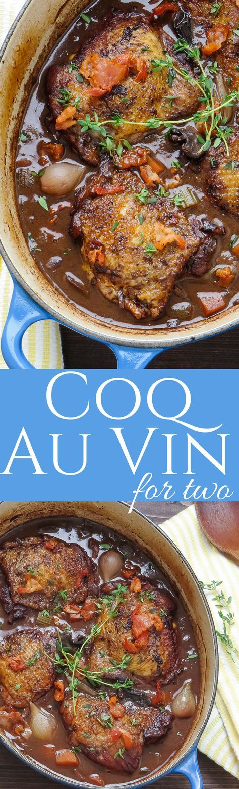 This slow braised recipe for Coq Au Vin is made with chicken thighs and plenty of red wine. A perfect romantic dinner for two! via @GarlicandZest