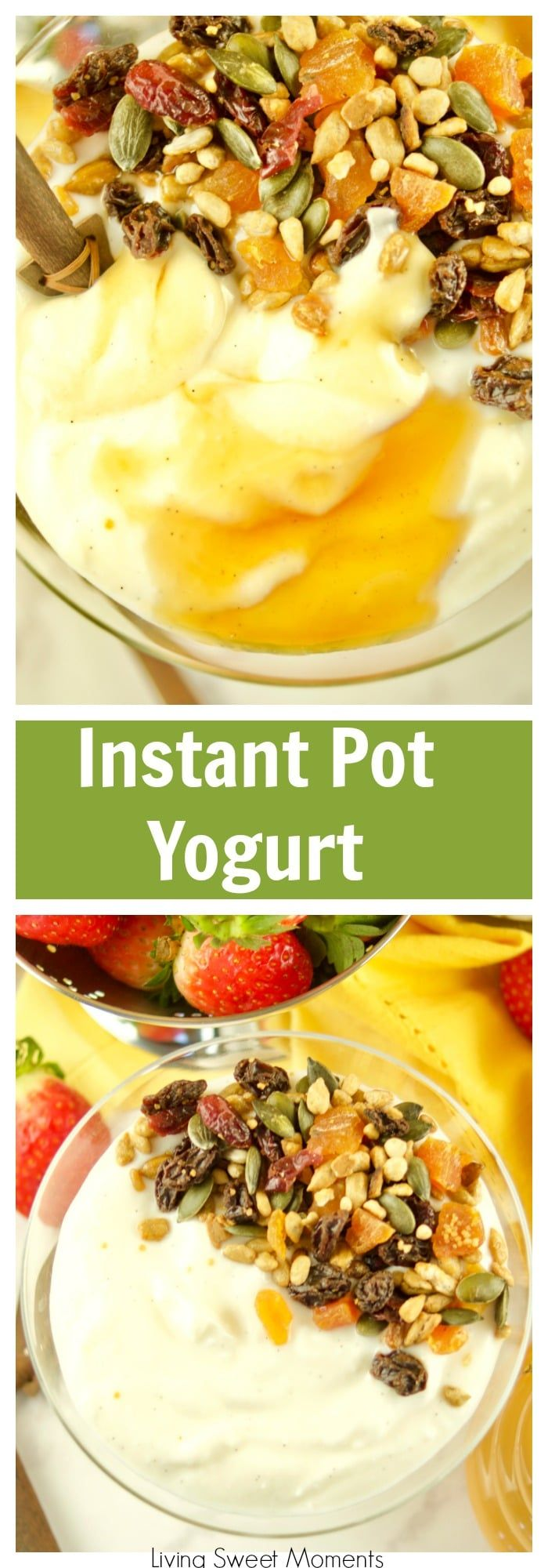 This super Easy Instant Pot Yogurt recipe requires only 1 step and 4 ingredients. No boiling, straining or checking temperature required. Make the perfect thick and creamy yogurt for breakfast and top with honey, fruit, and granola. For more instant pot recipes visit livingsweetmoments.com  via @Livingsmoments