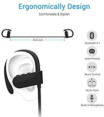 Auriculares Inalámbricos Antiruido Bluetooth 4.1, Chnano Auriculares Cascos Deportivos con Micrófono Estuche Sonido Estéreo Manos Libres para iPhone, Huawei, TomTom, MP3, Sony, BQ, LG etc (Negro): Amazon.es: Electrónica
