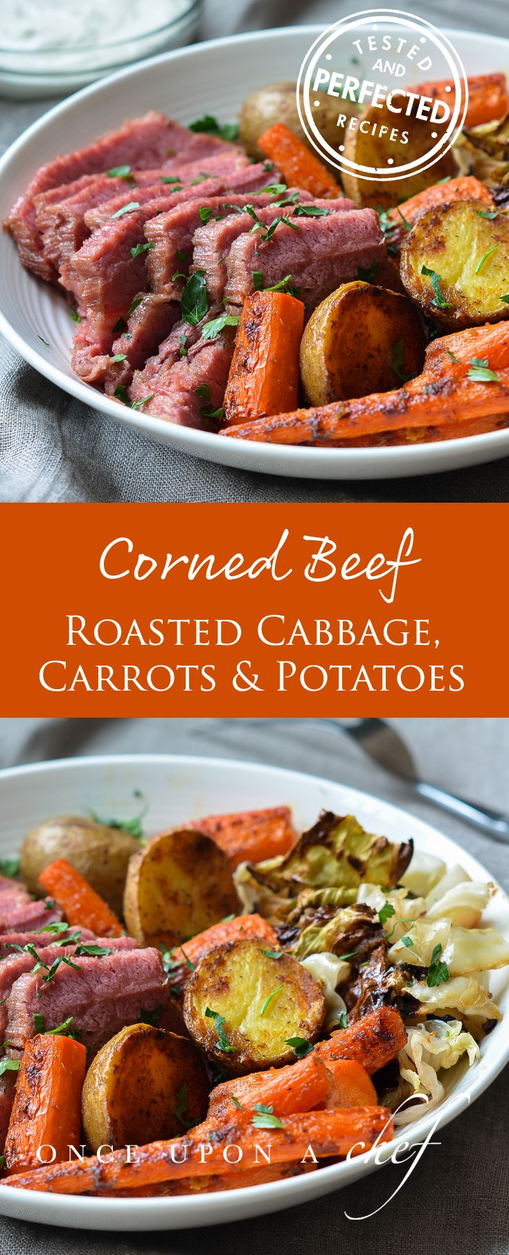 Corned Beef with Roasted Cabbage, Carrots & Potatoes + Horseradish Cream Sauce - Once Upon a Chef