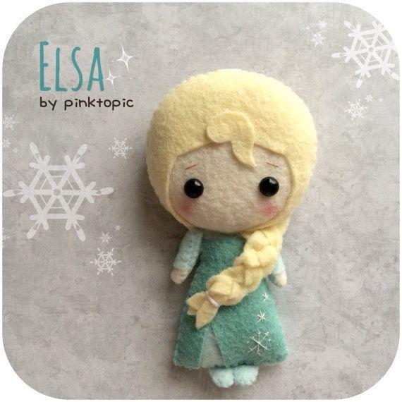 Elsa Felt Plush Toy  Frozen by pinkTopic on Etsy