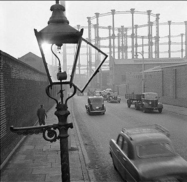235-King's Cross gas holders, Goods Way, 1955 by Warsaw1948, via Flickr