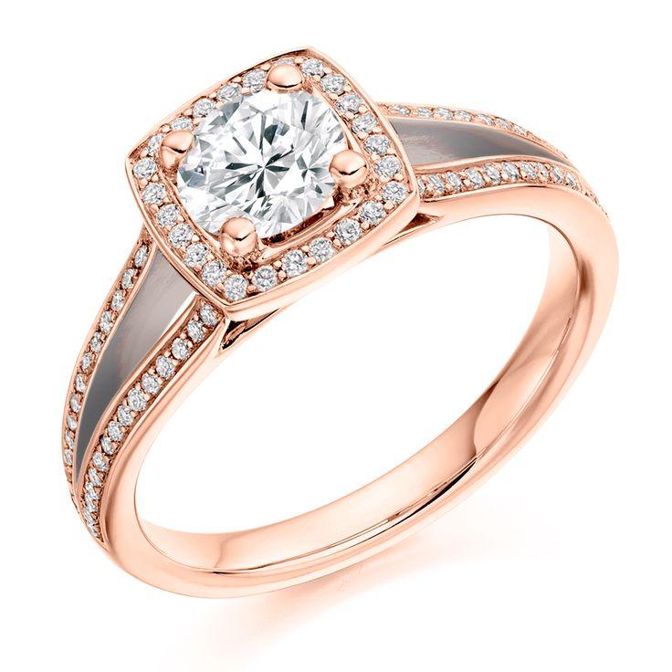 Halo Set 0.75ct Split Shoulder Diamond Ring | Reppin & Jones Jewellers