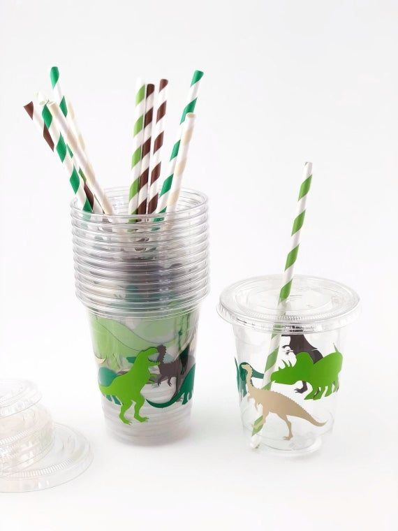 Paper Party Cups Dinosaur Party Custom Party Decor Set of 12 Party Cups Jurassic Dinosaurs Dinosaur Party Cups Jurassic Party Decor