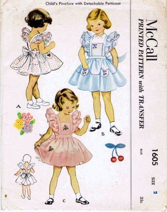McCall 1951 1605 vintage sewing pattern for toddler girl dresses.