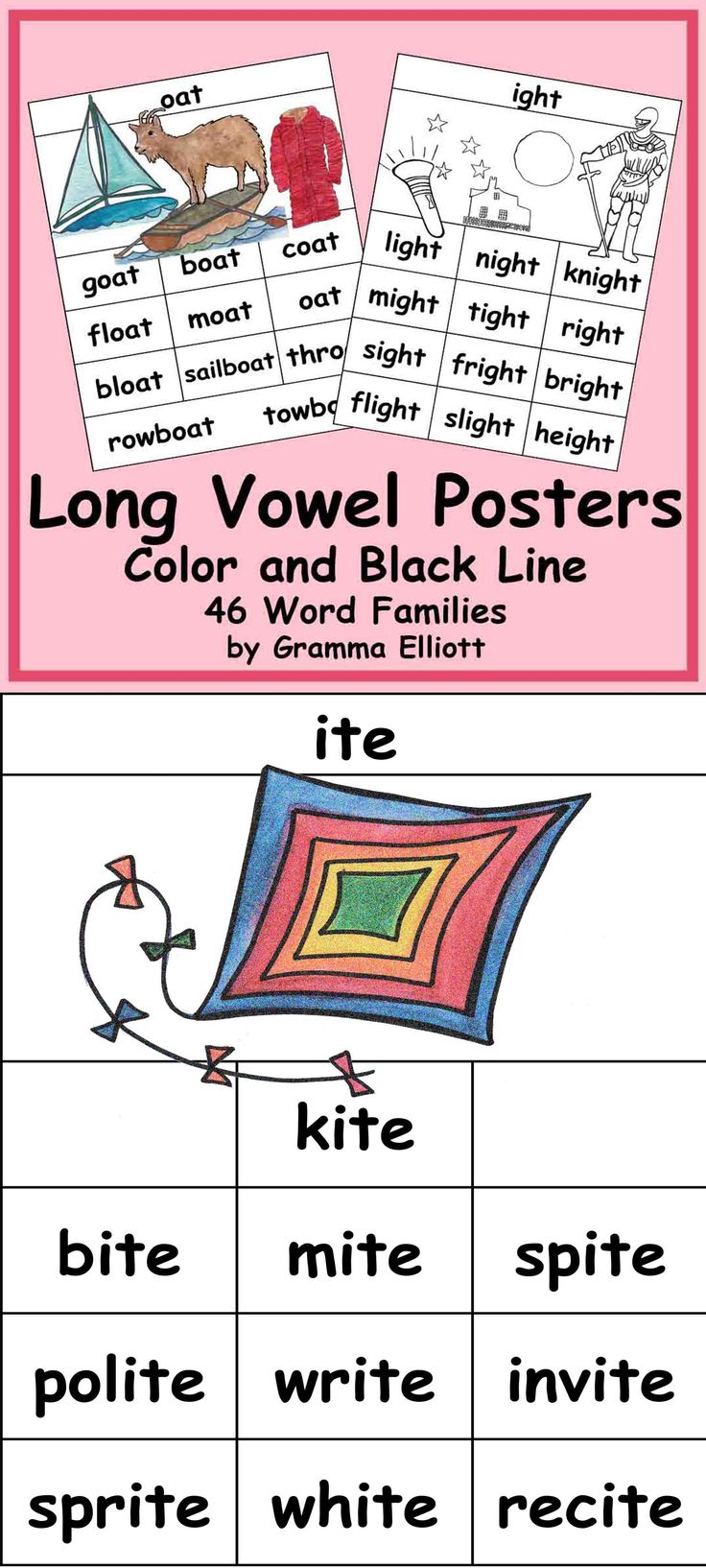 Long Vowel Rhyming word families are an essential part of phonics. Each word family below is represented on these posters:  Ade, ail ain, ake, ale, ame, ane, ape, ate, ave, ay ee, eel, eep, eet,  ice, ide, ie, ife, ight, ike, ile, ime, ine, ipe, ite, ive, y oat, obe, oke, one, ope, ose, ote, ow ube, ule, une, ute, ew, y oo, ool, oom, oon . These posters are great for reference on bulletin boards, on writing or spelling centers, and for intervention with a tutor or parent,