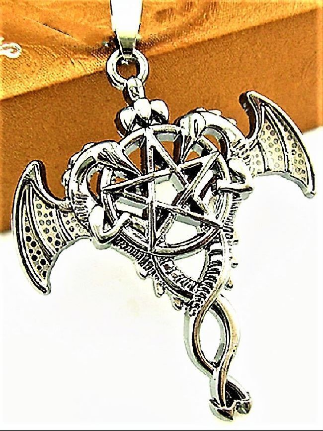 Amazing Stainless Steel Dragon Wing Witchcraft Wicca Pentacle Pendant Necklace  #Unbranded #Charm