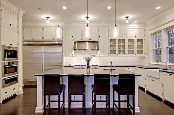 4 Dutch Colonial home. I adore this kitchen. I love all the cabinet space and the island in the middle.