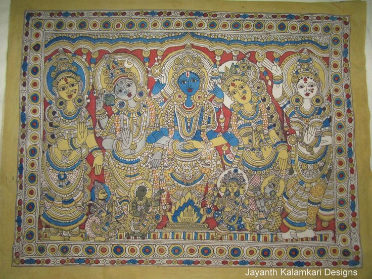 Pen Kalamkari Wall Hangings Code: JKD-WH02 Length: 47 inch Width: 36 inch  Story: Lord Siva Kalyanam,