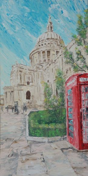 LONDON palette knife painting 60x120x4 cm Large painting S042 OOAK St Paul's Cathedral decor original big art ready to hang painting acrylic on stretched canvas wall art by artist Ksavera