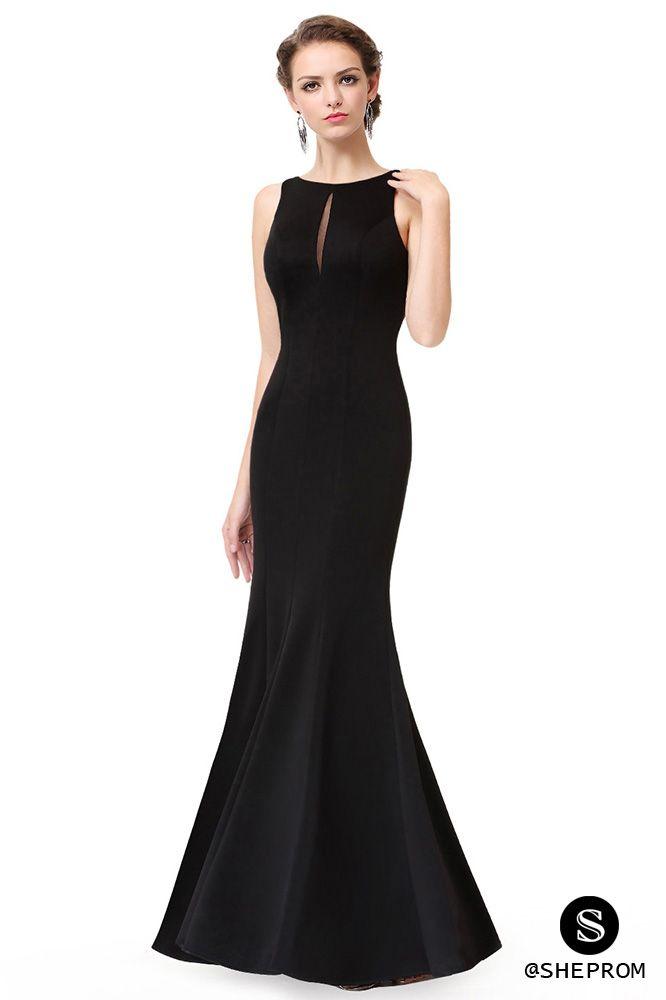 Simple Black Sleeveless Long Mermaid Evening Dress Evening Dresses Long Evening Dresses Long Black Dress Formal