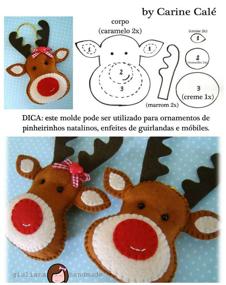 Felt Rudolph the Red-Nosed Reindeer - FREE Sewing Pattern