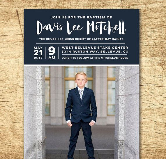 lds baptism invitation, modern baptism invitation, printable baptism announcement - modern boy baptism announcement - printable baptism