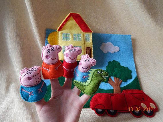 Juego de play de marioneta de dedo Peppa Pig. (+ Regalo). Juguetes Peppa Pig. Títeres de fieltro. Familia de dedos. Títeres de dedo animales.