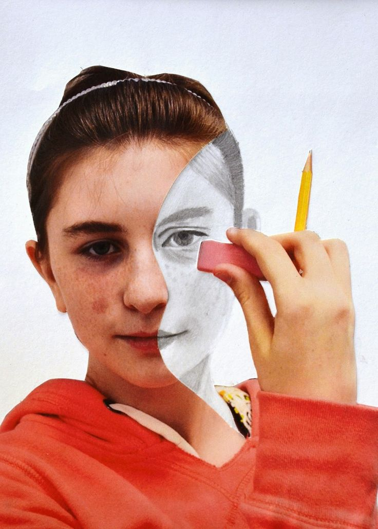 Erase Your Face: Photograph yourself with an eraser, cut out around hand, eraser, part of face and around head. Draw back in the cut out part of your face.