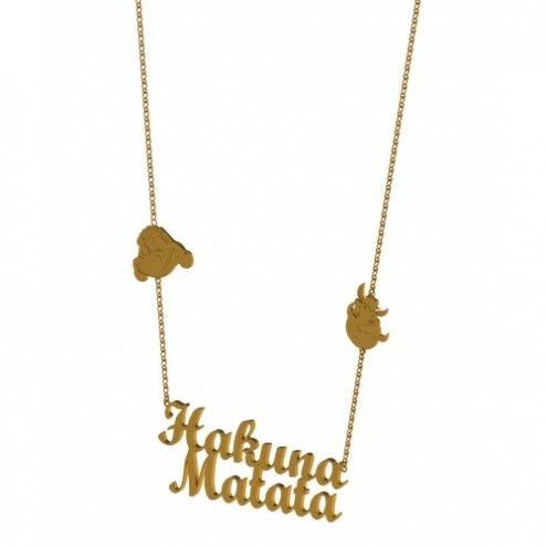 Disney Couture Lion King Gold Hakuna Matata Necklace at aquaruby.com