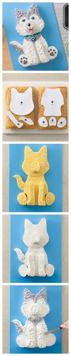Husky Dog Cake and template for your favorite Husky!
