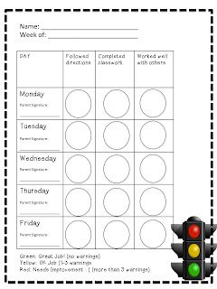 A Not So Wimpy Teacher's Behavior Management Manual: Primary daily Report: Green Light, Yellow Light, Red Light-STOP!