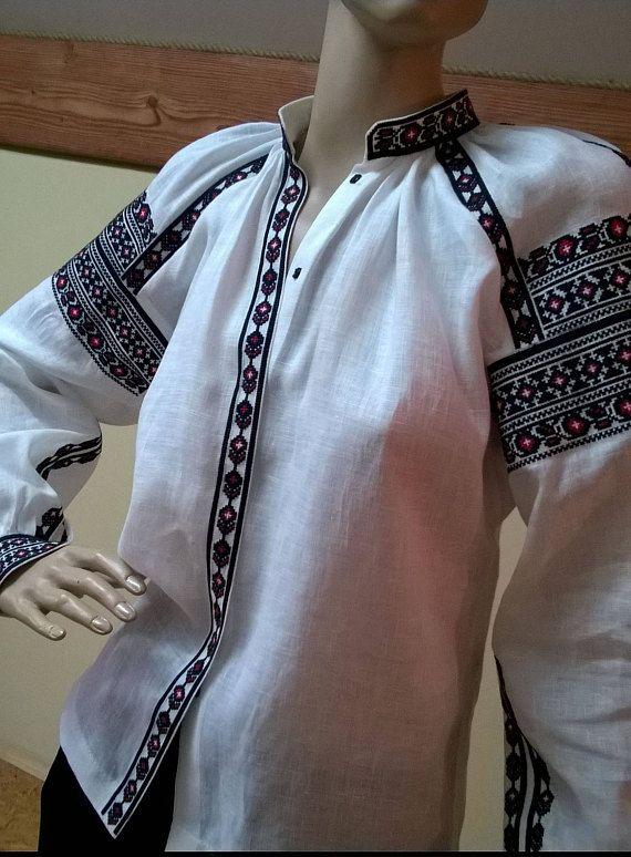 Exclusive white vyshyvanka blouse of 100% linen with Ukrainain