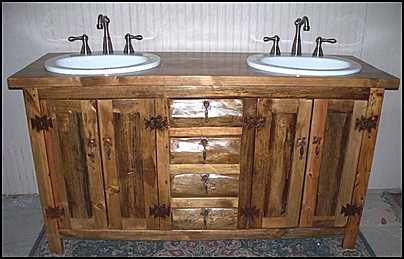 MS137162D  Rustic Bathroom Vanity  Double Sink by CantonAntiques