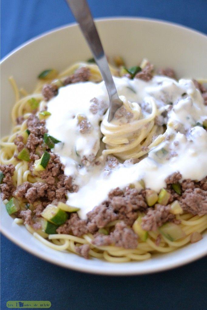 Spaghetti à la turque - 2 steaks hachés - une petite courgette - un oignon - un yaourt nature brassé - quelques gousses d'ail (à doser selon votre palais) - du gruyère râpé (facultatif)