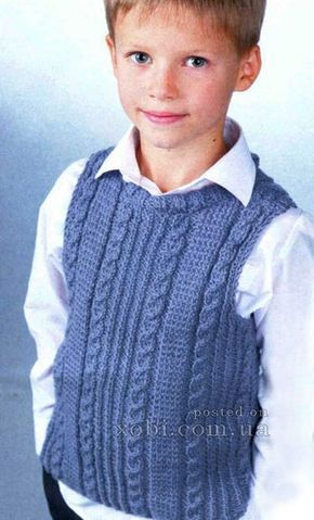 жилет с косами на мальчика (4-14 лет)