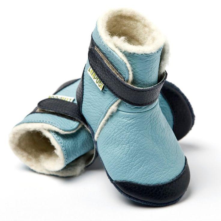 Liliputi® soft soled booties - Himalaya Blue #softleatherbabyboots #babyboots #winter