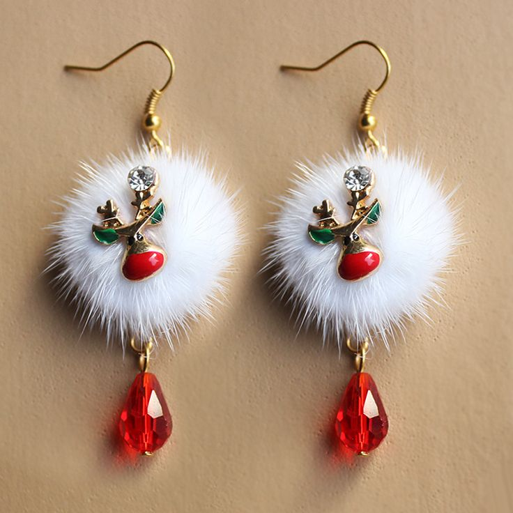 European and American Fashion Santa Plum Deer White Fox Fur Ball Red Crystal Drop Earrings Jewelry Wholesale Christmas Gift
