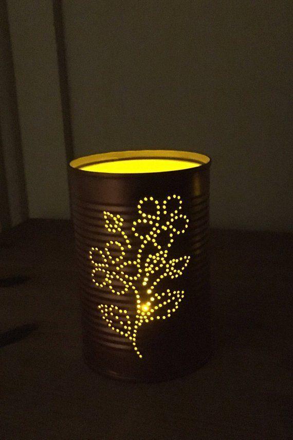 Tin Can Lanterns Intricate Flower Design Tin Can Lanterns