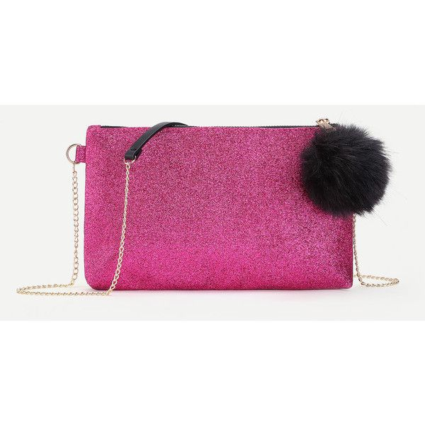 SheIn(sheinside) Glitter Clutch Chain Bag With Pom Pom featuring polyvore, women's fashion, bags, handbags, clutches, hot pink, pu handbag, pink purse, chain purse, glitter clutches and hot pink purse
