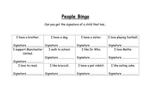 Meeting your new class - People Bingo