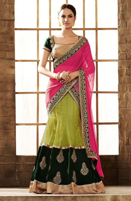 Buy Pink & Green Embroidered Lehenga Saree, Price Rs 7,510 with resham embroidery work at: https://www.vessido.com/product/pink-green-embroidered-lehenga-saree/