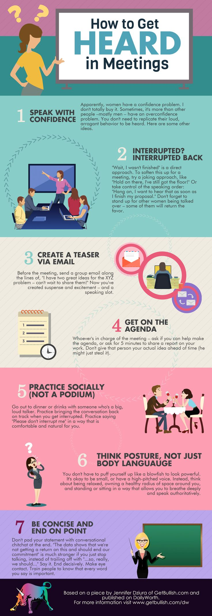 How to Get Heard in Meetings, based on an article by Jennifer Dziura of GetBullish. Don't let dudebros and sexism get you down.
