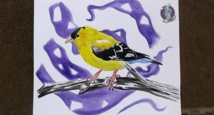 Pájaro Amarillo sobre rama,Acrílico sobre papel acuarela. Diseño/Idea para tattoo Disponible!!!. Ave, Animales, Naturaleza. Sebastian Marin. Tattoo Athenea.
