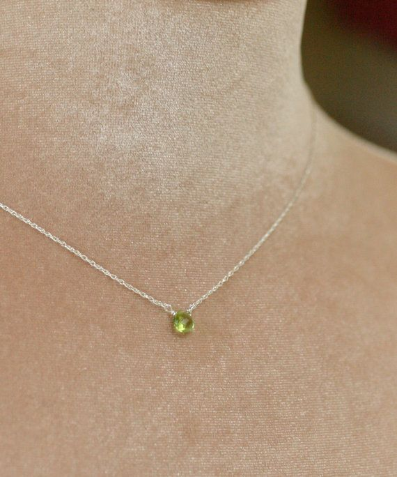 Tiny peridot necklace, August birthstone necklace, dainty necklace, lime green necklace - Natalie