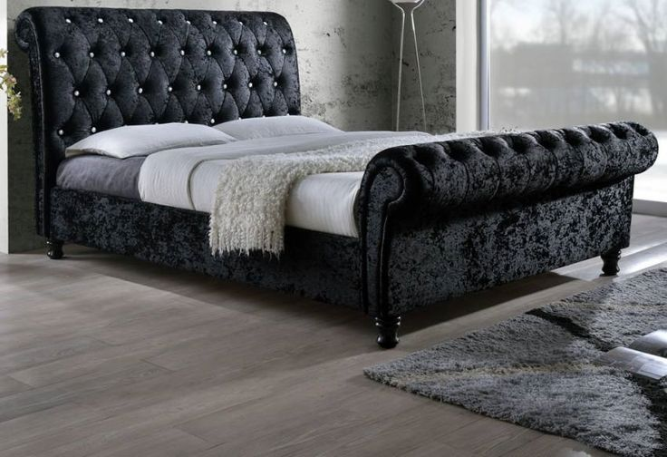 Crown Sleigh Crushed Velvet Bed | COMFORT DIRECTION