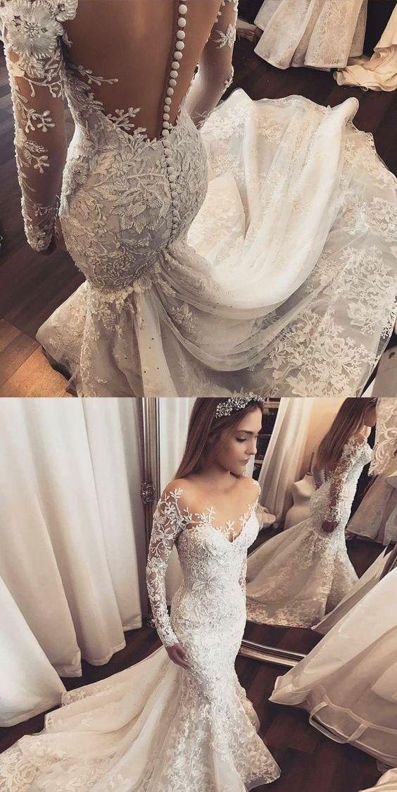 3ae7a75a8d Luxury Wedding Dresses Trumpet Mermaid Long Sleeve Sexy Bridal Gown  JKS259 annapromdress  weddingdress  wedding  bridalgown  BridalGowns   cheapweddingdress ...