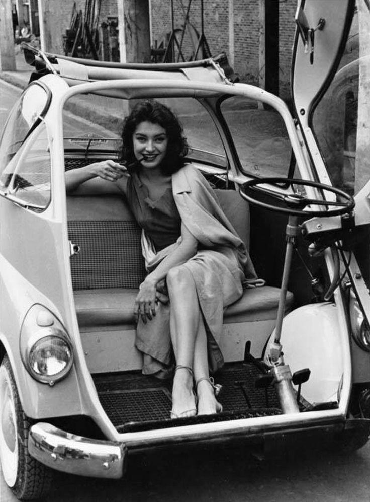 Gianna Maria Canale In Bmw Isetta Girl And A Sports Car Pinterest Bmw Girls And Bmw Isetta