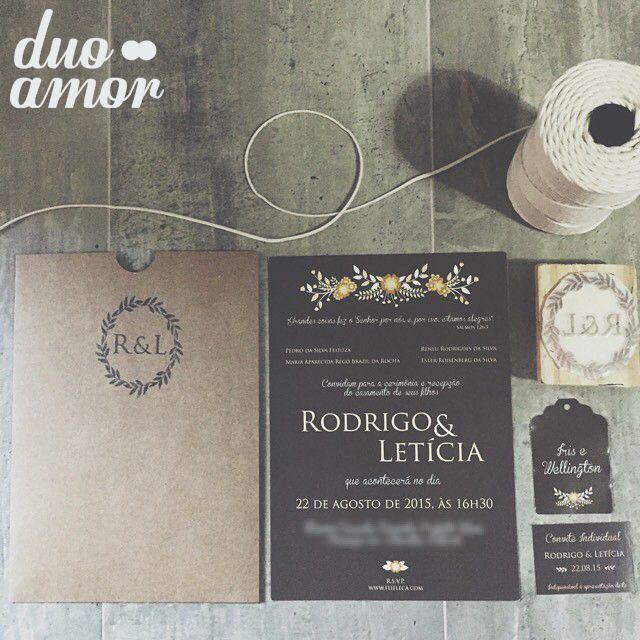 convite casamento rústico; envelope kraft; convite floral; carimbo;