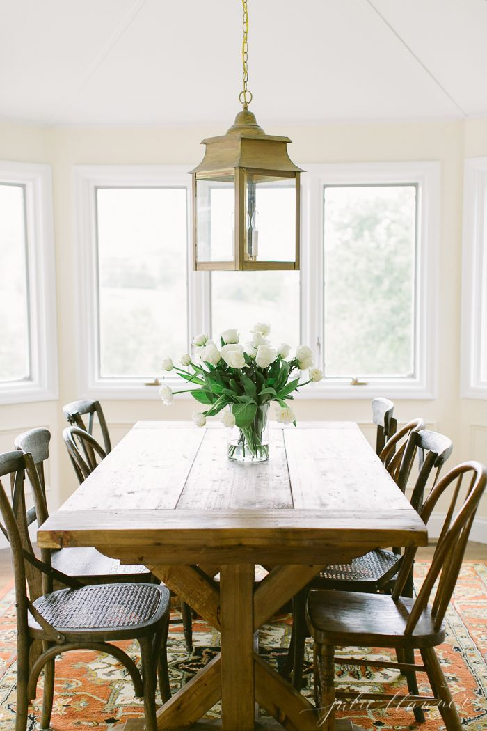Traditional Breakfast Room Dining Area With Wooden Farmhouse Style Table And