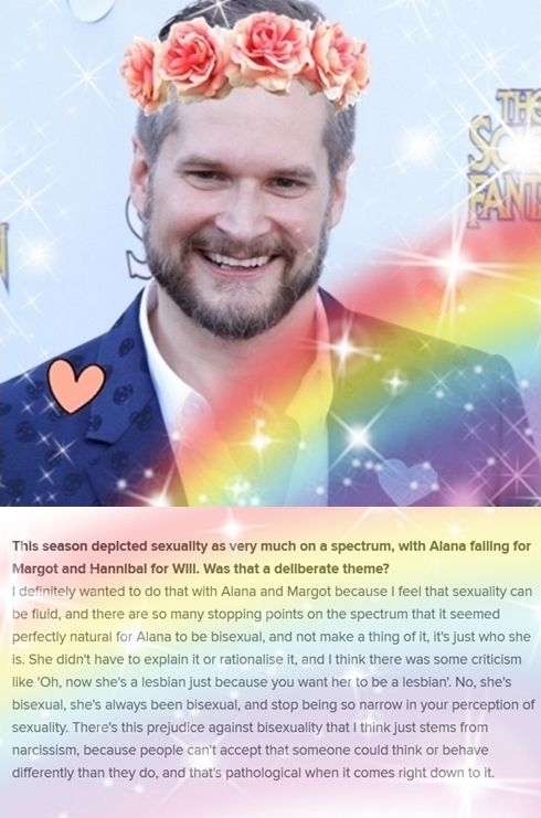 Bryan Fuller on Hannibal sexuality on Hannibal (does anyone have this without the flowers and hearts..... Kinda like the rainbow, not gonna lie)
