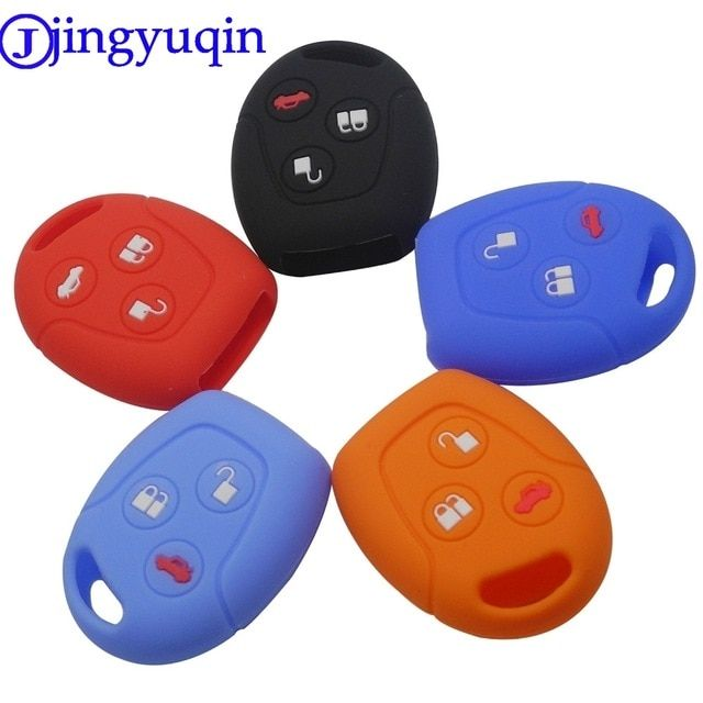 Jingyuqin 3 Buttons Remote Silicone Car Fob Key Case Cover For